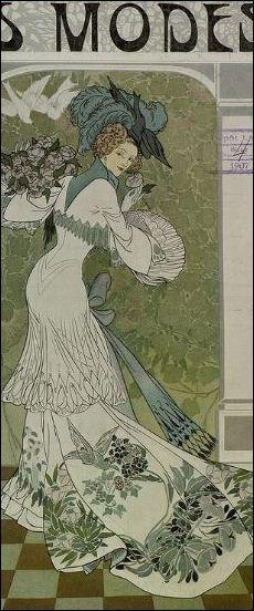 Georges de Feure, detail van illustratie voor 'Les Modes', 1907 (gebruikt als omslagbeeld voor Vlindertje)