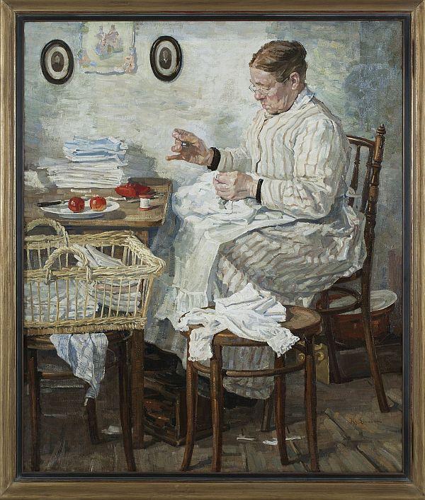 Klaas van Leeuwen, De huisnaaister (1916). Illustratie uit Ileen Montijn, Tot op de draad, de vele levens van oude kleren.