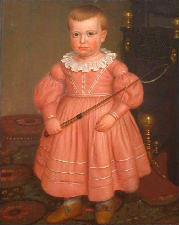 Jongen in het roze. Amerikaanse school, c. 1840 (bron: thevintagenews.com). Het gebruik om jongens in blauw en meisjes in roze te kleden schijnt pas van na c. 1950 te dateren.