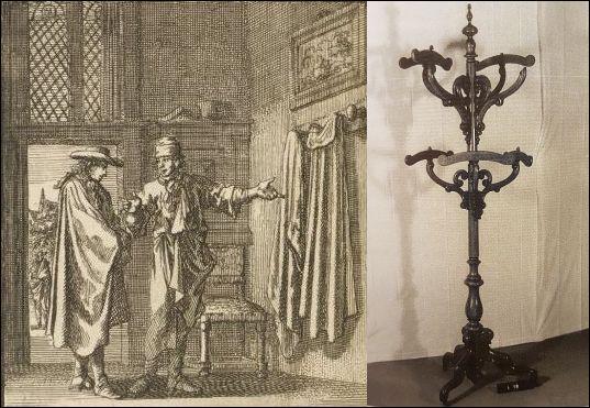 L: Jan Luyken, Het leerzaam huisraad 1711, 'Kapstok'.  R: Eikenhouten kleerstandaard met zes vaste kleerhangers, c. 1850-1875.