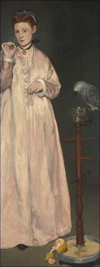 Edouard Manet, Portret van een jonge vrouw met papegaai (1866), detail. Metropolitan Museum of Art, New York.