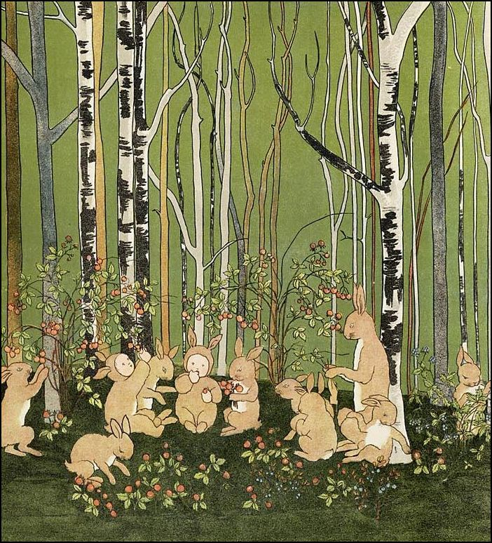 Iedereen dezelfde pakjes (illustratie uit Marie Hildebrandt, 'Mapje en Papje in het hazenbosch' 1906)