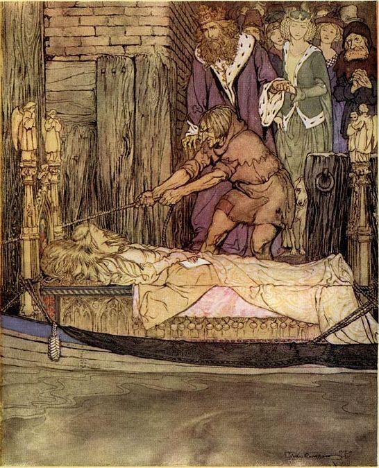 Arthur Rackham, Het bootje met de dode Elaine voor het paleis te Westminster.