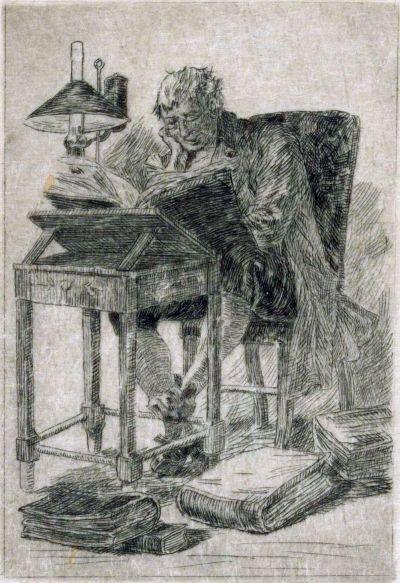 Félicien Rops, Man achter een leestafel. Droge naald met plaattoon, coll Rijksmuseum, Amsterdam