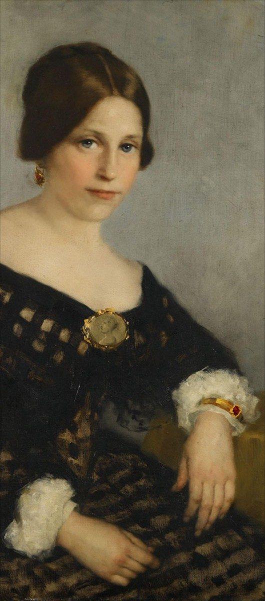 Sophia Lopez Suasso geschilderd door Thérèse Schwartze, 1890 (detail). Collectie Amsterdam Museum.