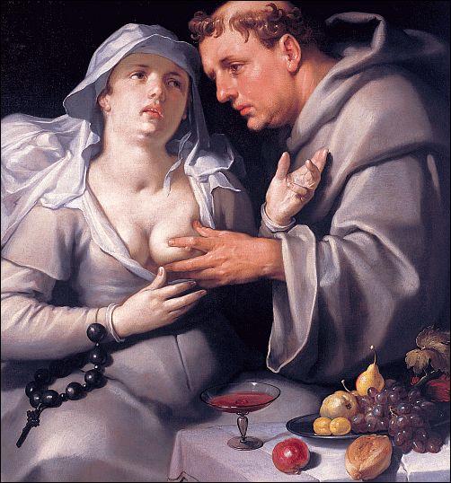 Cornelis van Haarlem, Een monnik betast een non (1591) Frans  Halsmuseum, Haarlem (detail)