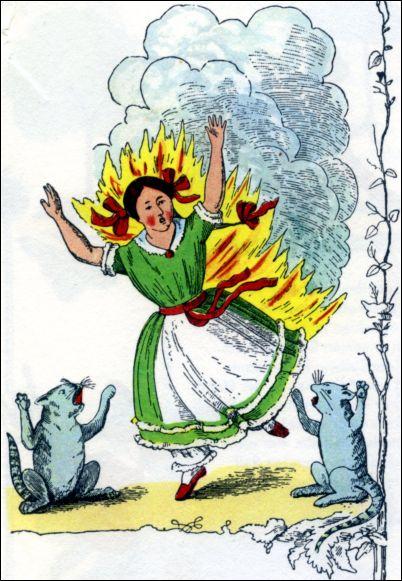 'Die gar traurige Geschichte mit dem Feuerzeug'. Illustratie uit Heinrich Hoffmann, Der Struwwelpeter (uitg. 1917)
