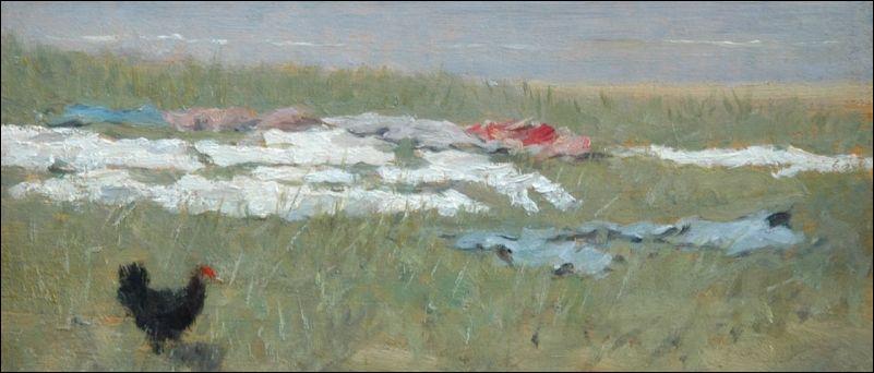 David Artz, Zwart kipje op bleekveld in de duinen (detail). Herkomst: coll. Simonis & Buunk, Ede