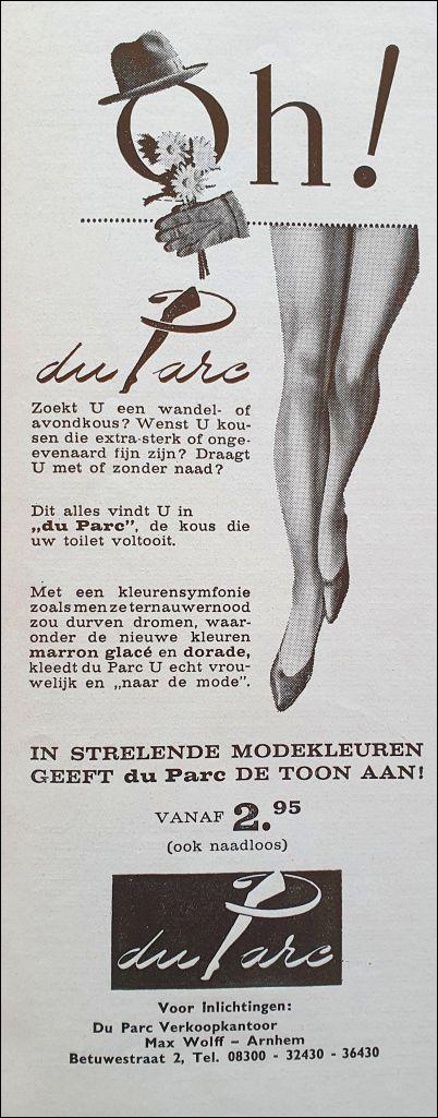 Advertentie voor nylon kousen in De Vrouw en haar Huis (november 1960)