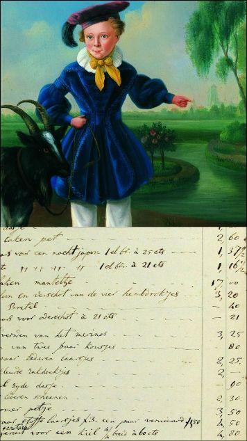 J. Boshamer, Simon van Gijn (1841), detail. Er onder: fragment uit het kasboek.  Coll. Huis van Gijn